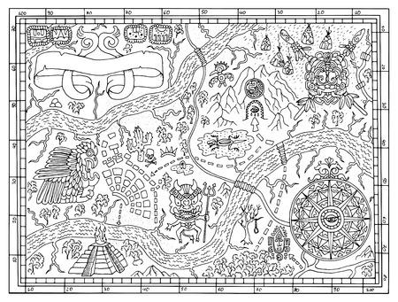 De oude Maya's of piraten kaart voor een volwassene of kind kleurboek. Hand getrokken vector illustratie met schatzoeken, vintage avonturen en oud vervoer concept. Doodle met kompas windroos