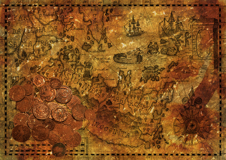 Old pirate map with ancient coins on grunge paper texture background. Hand drawn illustration and collage with treasure hunt, vintage adventures and old transportation concept Stock Photo