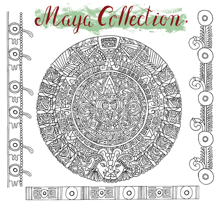 mayan prophecy: Old maya calendar with black ethnic patterns and graphic ornaments on white. Vector illustration and doodle drawing for design. Magic astrological symbol and mystic sign Stock Photo