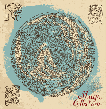 mayan prophecy: Vintage card with ancient maya calendar and ethnic ornaments on textured background. Pattern vector illustration and doodle drawing for design. Magic astrological symbols and mystic signs