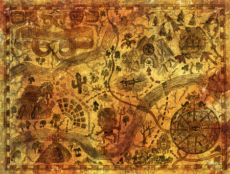 archeology: Hand drawn treasures island map on ancient paper parchment. Vintage pirate adventures and mayan or aztecs treasure hunt concept. Drawings of wind compass and antique symbols in American Indian style Stock Photo