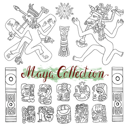 mayan prophecy: Vintage ethnic set with ancient maya symbols, people and tribal ornaments in old American indian style. Pattern vector illustration and doodle drawing for design. Ancient mystic glyphs and icons