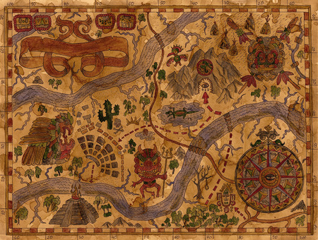 Hand drawn illustration with pirate map of maya Treasure Island on ancient parchment. Vintage adventures and treasures hunt concept. Drawings of wind compass and antique symbols on paper manuscript Archivio Fotografico
