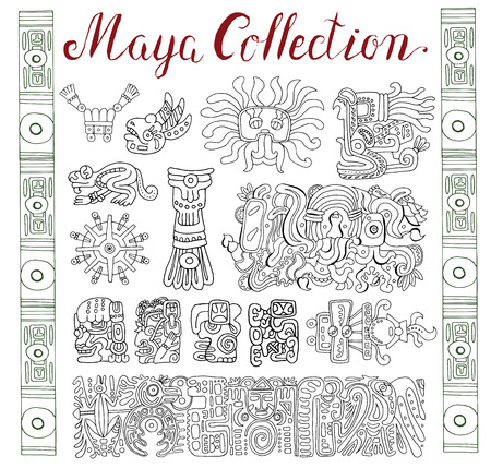 mayan prophecy: Vintage collection with graphic maya, inca and aztec zodiac ornaments and symbols in old american indian style. Pattern vector illustration and doodle drawing for design. Ancient glyphs and icons Stock Photo