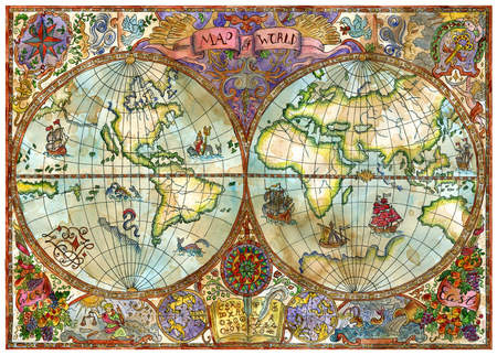 antique paper: Vintage illustration with world atlas map on antique paper. Pirate adventures, treasure hunt and old transportation concept. Grunge textured background with graphic drawings and mystic symbols Stock Photo