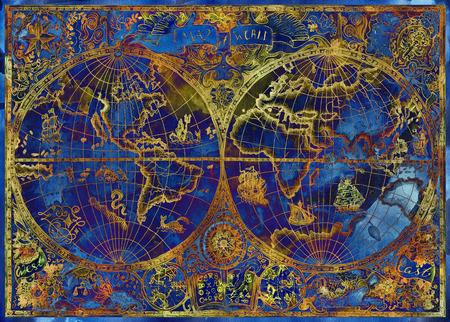 Ilustración de la vendimia con el atlas de mundo azul sobre fondo de textura. aventuras de piratas, caza del tesoro y el concepto de transporte de edad. la textura del grunge con dibujos gráficos y símbolos místicos Foto de archivo
