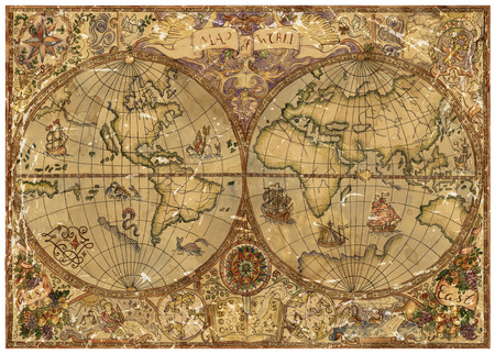 Vintage illustration with world atlas map on antique parchment. Pirate adventures, treasure hunt and old transportation concept. Grunge background with graphic drawings and mystic symbols Archivio Fotografico