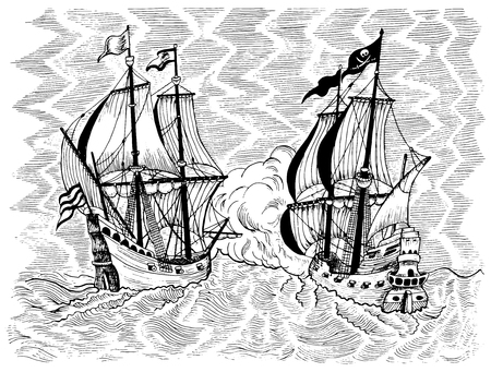 Engraved marine illustration with sea battle of pirate ship and trade vessel. Black and white graphic drawing. Pirate adventures, treasure hunt and old transportation concept