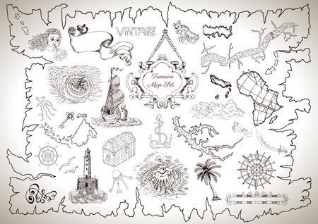 Vintage Design Collection For Pirate Map With Engraved Line Drawings