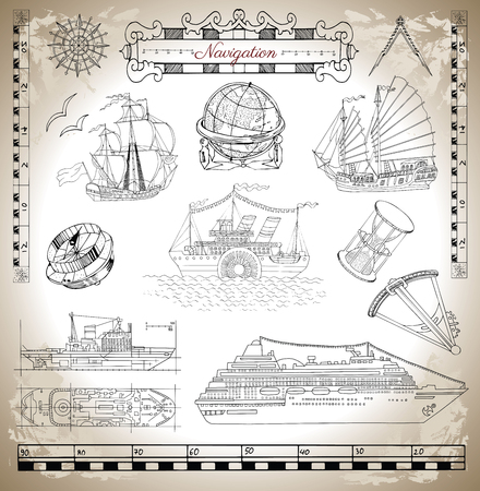 brig: Marine set with ancient and modern ships, antique navigation devices and tools, vignette banners and sea symbols for design of maps, cards, posters. Engraved illustration, old transportation concept Illustration