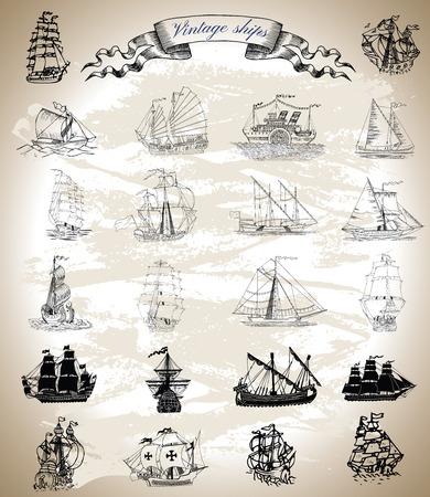 Collection Design graphique avec cru navires, voiliers et bateaux. Silhouettes et dessins gravés avec vignette bannière. aventures de pirate, chasse au trésor et concept de transport vieux