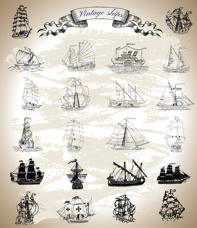 brig: Design graphic collection with vintage ships, sailboats and vessels. Silhouettes and engraved drawings with vignette banner. Pirate adventures, treasure hunt and old transportation concept Illustration