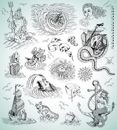 デザインと mythologycal の海の生き物、船、人魚、マップ、ロゴの海洋のシンボル グラフィックのセット。刻まれたイラスト。海賊冒険、宝探し、古