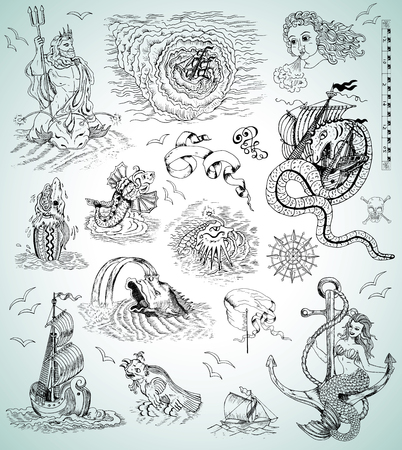 Design graphic set with sea mythologycal creatures, ships, mermaid and marine symbols for maps, logos. Engraved illustrations. Pirate adventures, treasure hunt and old transportation concept