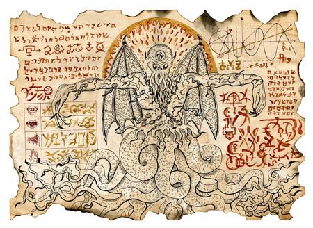 Antiguo pergamino con dibujos místicos con demonio maligno y símbolos de magia negra. ilustraciones ocultos y esotéricos. No hay texto en lengua extranjera en la imagen, todos los símbolos son los imaginarios y fantasía Foto de archivo - 68056397