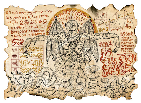 Old parchment with mystic drawings with evil demon and black magic symbols. Occult and esoteric illustrations. There is no foreign text in the image, all symbols are imaginary and fantasy ones Archivio Fotografico