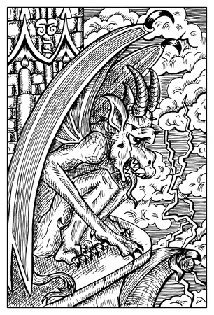 roof line: Gargoyle. Gothic monster on the castle roof. Fantasy magic creatures collection. Hand drawn vector illustration. Engraved line art drawing, graphic mythical doodle. Template for card game, poster