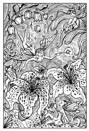lily flowers collection: Beautiful fairy ladies and lily flowers. Fantasy magic creatures collection. Hand drawn vector illustration. Engraved line art drawing, graphic mythical doodle. Template for card game, poster