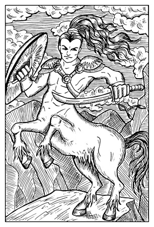 centaur: Centaur. Human warrior with horse body. Fantasy magic creatures collection. Hand drawn vector illustration. Engraved line art drawing, graphic mythical doodle. Template for card game, poster