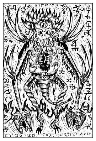 symbols: Demon or monster with mystic imaginary symbols (no foreign language). Fantasy magic creatures collection. Hand drawn vector illustration. Engraved line art drawing. Template for card game, poster