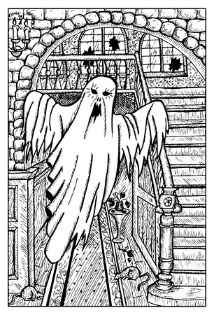 Scary ghost in haunted house. Fantasy magic creatures collection. Hand drawn vector illustration. Engraved line art drawing, graphic mythical doodle. Template for card game, poster Illustration