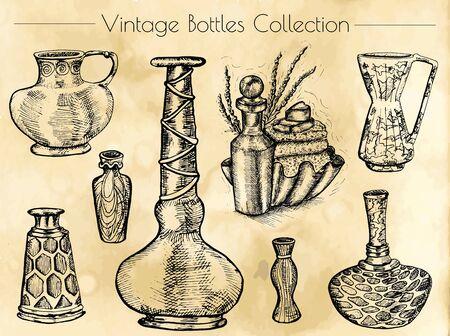 Disegnato a mano collezione di bottiglie di profumo d'epoca. disegnata a mano illustrazione inciso. disegno d'epoca in stile schizzo