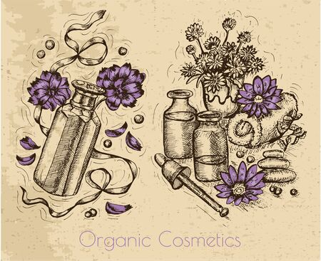 perfumery: Graphic set with flowers, perfume bottles and herbal cosmetic still life on textured background. Hand drawn engraved illustration. Natural cosmetics ingredients, vintage design