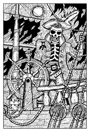 Skeleton Pirate and the Flying Dutchman. Fantasy creatures collection. Hand drawn vector illustration. Engraved line art drawing, black and white doodle