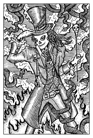 baron: Baron Samedi, day of the dead. Fantasy creatures collection. Hand drawn vector illustration. Engraved line art drawing, black and white doodle Illustration
