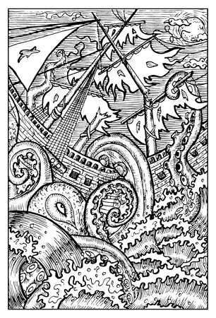 クラーケン、巨大なタコ。ファンタジーの生き物のコレクションです。手には、ベクター グラフィックが描画されます。刻まれたライン アートの描