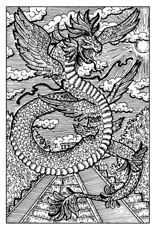feathered: Quetzalcoatl, feathered serpent, ancient aztec god. Hand drawn vector illustration. Engraved line art drawing, black and white doodle. See all fantasy collection in my portfolio set Illustration