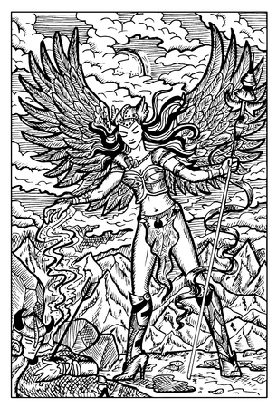 valkyrie: Valkyrie, North mythology maiden and dead warrior. Hand drawn vector illustration. Engraved line art drawing, black and white doodle. See all fantasy collection in my portfolio set