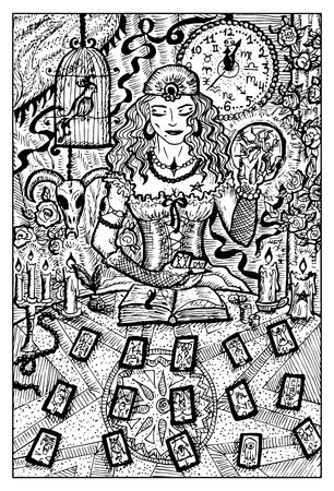 diabolic: Fortune teller woman with tarot cards and magic ball. Hand drawn vector illustration. Engraved line art drawing, black and white doodle. See all fantasy collection in my portfolio set Illustration
