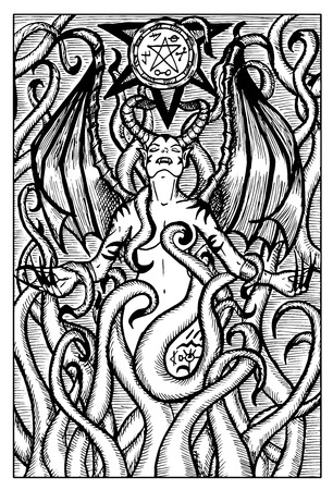 Lilith, female demon. Hand drawn vector illustration. Engraved line art drawing, black and white doodle. See all fantasy collection in my portfolio set Illustration