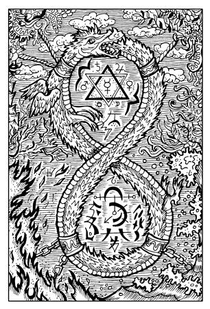 ウロボロス、ウロボロス、蛇またはドラゴンの尻尾を食べるします。手には、ベクター グラフィックが描画されます。刻まれたライン アートの図面  イラスト・ベクター素材