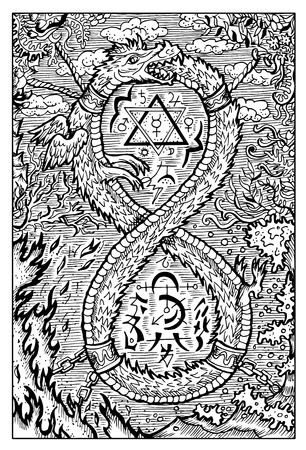 Ouroboros, uroboros, serpent or dragon eating its tail. Hand drawn vector illustration. Engraved line art drawing, black and white doodle. See all fantasy collection in my portfolio set