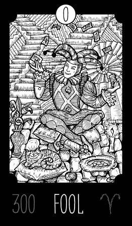 Tonto. 0 Tarjeta de Tarot Arcana Mayor. Ilustración de arte grabado línea de fantasía. Grabado de dibujo vectorial. Ver toda la colección en mi conjunto de cartera