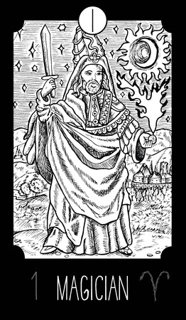 Goochelaar. 1 Grote Arcana Tarotkaart. Fantasie gegraveerde lijn kunst illustratie. Gegraveerde vectortekening. Zie alle inzameling in mijn portefeuillereeks