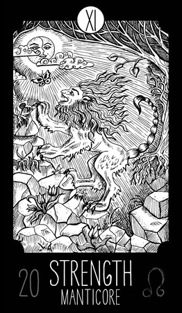 prophetic: Strength. 11 Major Arcana Tarot Card. Manticore. Fantasy engraved line art illustration. Engraved vector drawing. See all collection in my portfolio set