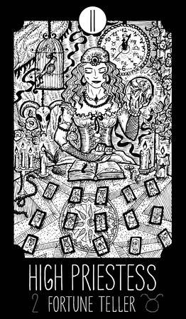 Alta sacerdotisa. 2 Carta de Tarot Arcana Mayor. Adivino. Ilustración de arte de línea grabado fantasía. Grabado de dibujo vectorial. Ver toda la colección en mi cartera