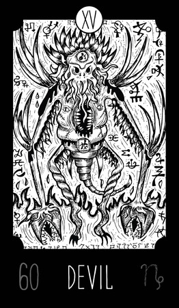 Devil. 15 Major Arcana Tarot Card. Demon of horror. Fantasy engraved line art illustration. Engraved vector drawing. See all collection in my portfolio set Illustration