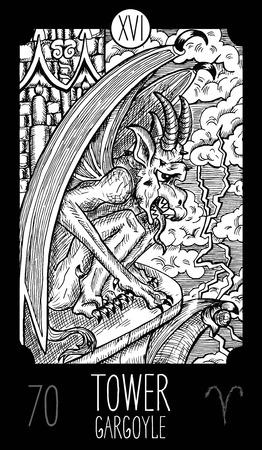 Toren. 16 Grote Arcana Tarotkaart. Waterspuwer. Fantasie gegraveerde lijn kunst illustratie. Gegraveerde vectortekening. Zie alle inzameling in mijn portefeuillereeks