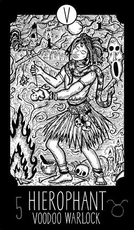 Hierophant. 5 Major Arcana Tarot Card. Voodoo warlock. Fantasy engraved line art illustration. Engraved vector drawing. See all collection in my portfolio set