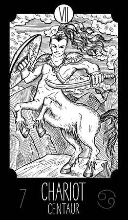 prophetic: Chariot. 7 Major Arcana Tarot Card. Centaur. Fantasy engraved line art illustration. Engraved vector drawing. See all collection in my portfolio set. Illustration