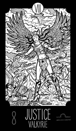 valkyrie: Justice. 8 Major Arcana Tarot Card. Valkyrie. Fantasy engraved line art illustration. Engraved vector drawing. See all collection in my portfolio set