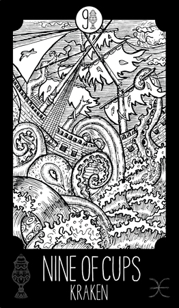 Nine of cups. Kraken. Minor Arcana Tarot card. Fantasy line art illustration.