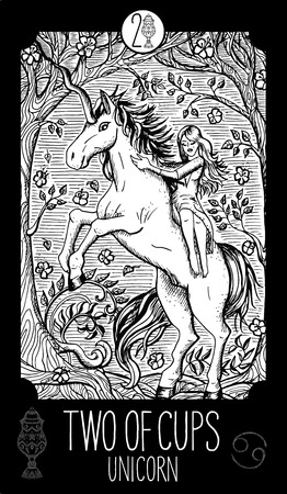 Two of cups. Unicorn. Minor Arcana Tarot card. Fantasy line art illustration.