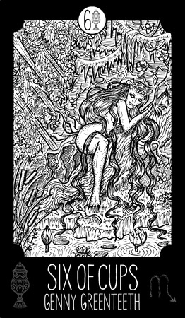 prophetic: Six of cups. Genny Greenteeth. Minor Arcana Tarot card. Fantasy line art illustration. Engraved vector drawing. See all collection in my portfolio set.