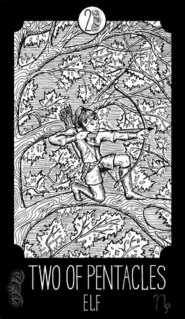 prophetic: Two of pentacles. Elf. Minor Arcana Tarot card. Fantasy line art illustration. Engraved vector drawing. See all collection in my portfolio set Illustration