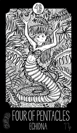 prophetic: Four of pentacles. Echidna. Minor Arcana Tarot card. Fantasy line art illustration. Engraved vector drawing. See all collection in my portfolio set
